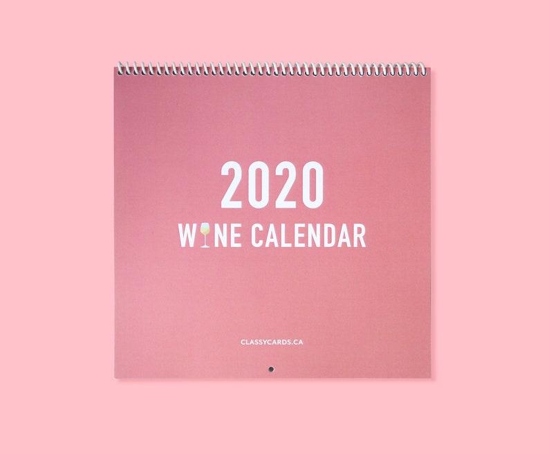 2020 Wine Calendar  Wall Calendar  Wine Theme Calendar  image 0
