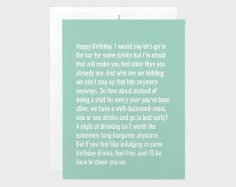 Funny Birthday Card | Chatty Cathy Birthday Drinks Card | Unique Birthday Card | Talkative Card