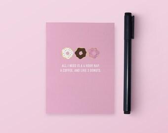 Three Donuts Pocket Notebook | Pocket Notebook | Funny Notebook | Small Notebook | Funny Stationery | Funny Gift | Funny Journal