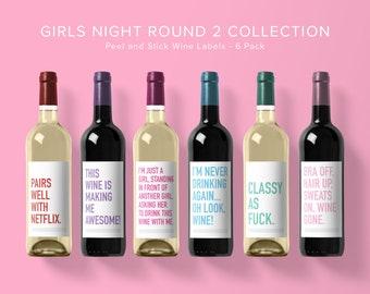 Girls Night Round 2 Wine Label Collection | Wine Label 6 Pack | Funny Wine Labels | Wine Label | Wine Bottle