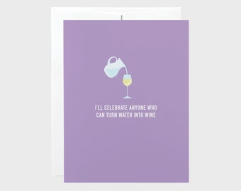 Water into Wine Easter Card   Funny Easter Card   Funny Wine Card