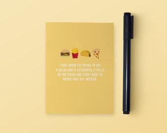 Fast Food Pocket Notebook | Pocket Notebook | Funny Notebook | Small Notebook | Funny Stationery | Funny Gift | Funny Journal