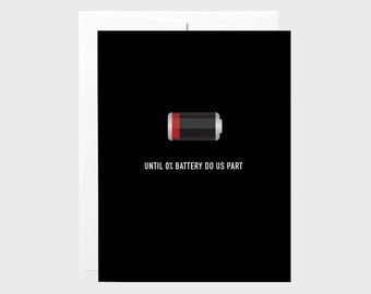 Funny Valentines Card | Funny Love Card | Low Battery Card | Valentines Card | Funny Technology Love Card | Love Card | Anniversary Card