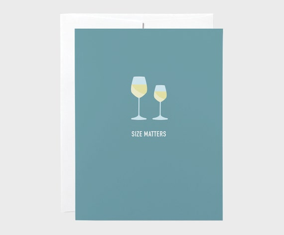 Size Matters Wine Card   Funny Wine Card   Funny Any Ocassion Card   Wine Birthday Card