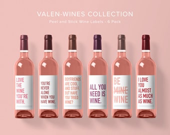 Valentine's Wine Label Collection | Wine Label 6 Pack | Funny Wine Labels | Wine Label | Wine Bottle