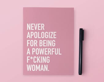 Powerful Woman Notebook | Woman Notebook | Funny Notebook | 6x8 Notebook | Funny Stationery | Funny Gift | Funny Journal