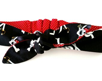 Pirate Headband, Top knot, Pirates, Head band, Pirate Skulls, Skull headband, Red polka dots, Crossbones, Hair bow, Red Headwrap, Bandana