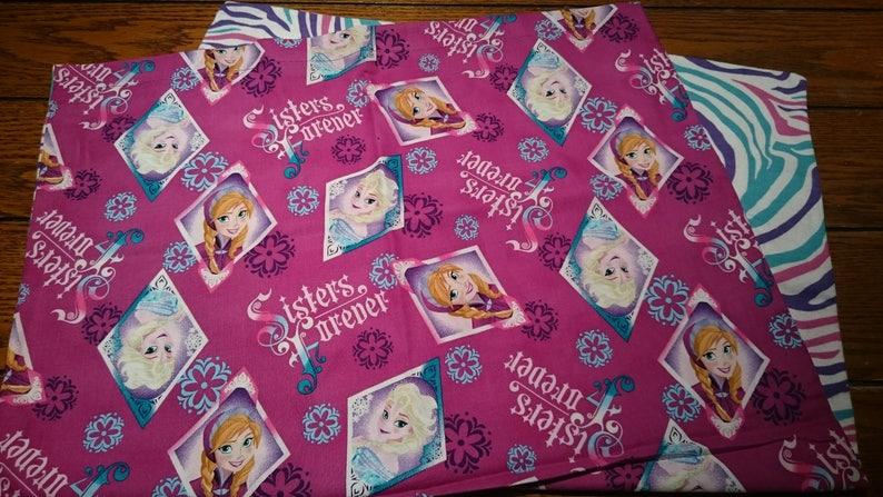 Pillowcase Disney Frozen Sisters Forever Purple Cotton with Zebra Flannel
