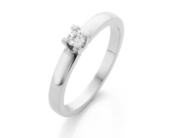 White gold ring, diamond solitaire ring unique style by Cober. Engagement ring for her. Free shipping!