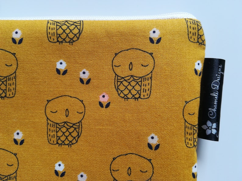 Owls Notions Pouch Owls Zipper Pouch Zippered Pouch Pencil Pouch Padded Pouch Notions Bag Makeup Pouch