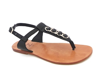 cdc548dc3f3d Pair of black grained genuine leather with woven silver-coloured rings a  T-strap thong women arabic sandals