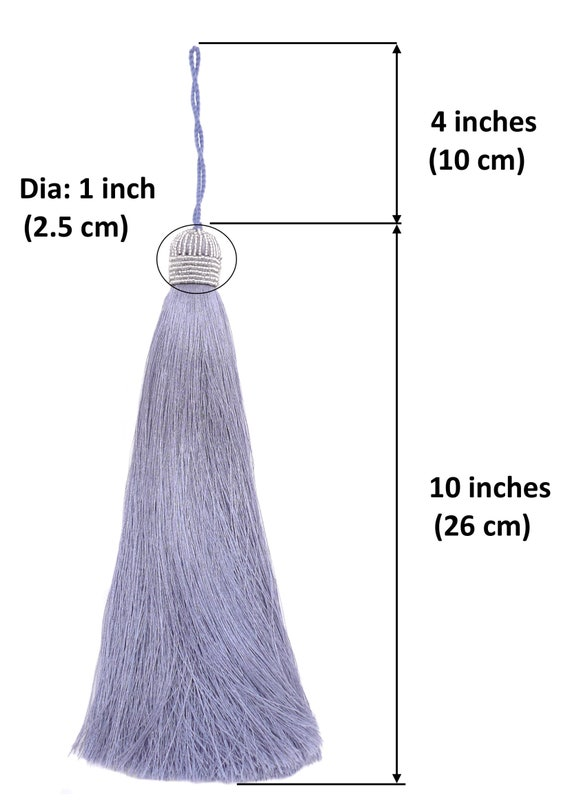 Black DIY Interior D/écor Craft Accessory Extra Long Silky 10 Inch Tassel with Beaded Head and Hanging Loop for Home Furniture
