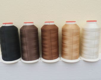 1 cone/spool of Nylon (N.8 or 20) leather sewing threads ( black, dark brown, brown, beige,cream) for stitching  leather shoes/bags/belts