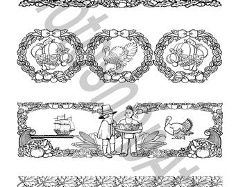 Thanksgiving bookmarks coloring page instant download PDF