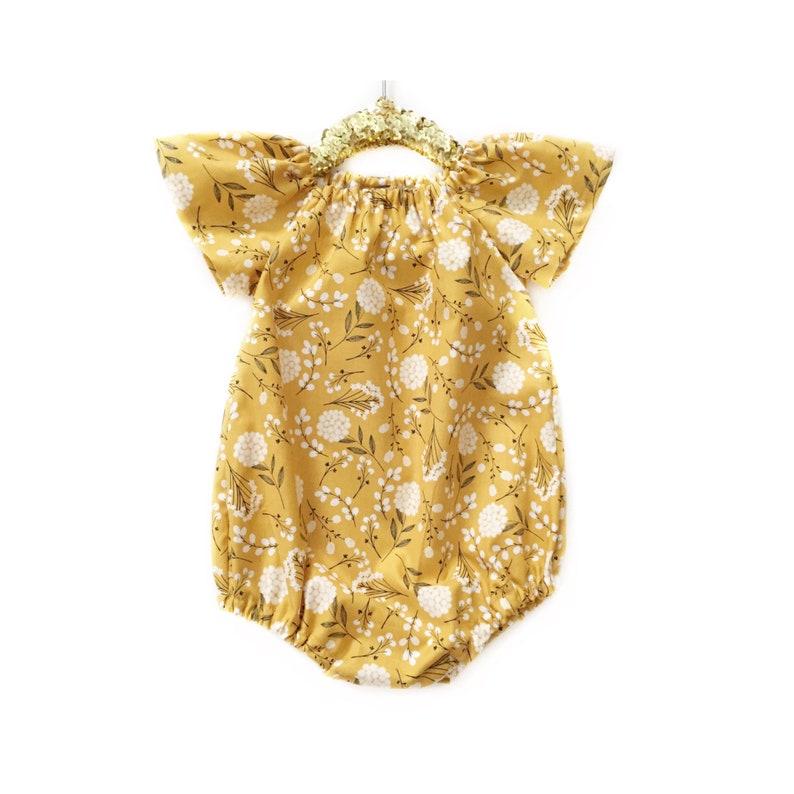 fcebdce1cd22 Girls Spring Dress Mustard Baby Romper Gold Romper Girls