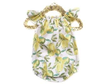 Lemon Romper, Lemon Dress, Summer Romper, Summer Outfit, Baby Romper, Baby Sunsuit, Toddler Romper, Spring Romper, Toddler Dress