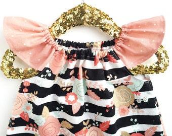 Girls Spring Outfit, Spring Clothing, Peach Dress, Gold Dress, Mint Dress, Toddler Dress, Baby Dress, Girls Dress, Floral Dress
