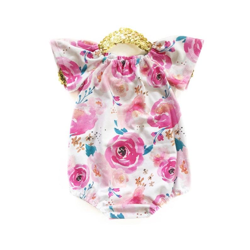 46d3be476467 Baby Girl Toddler Romper Baby Dress Floral Romper Summer