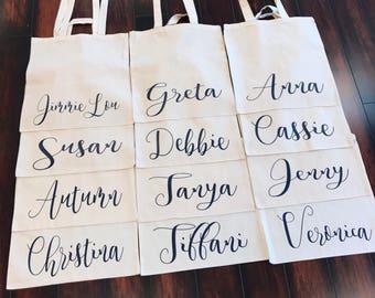 Sac cabas en coton écologique Eco pour les cadeaux de fête de mariée demoiselle d'honneur mariage   diverses couleurs disponibles   nom ou titre