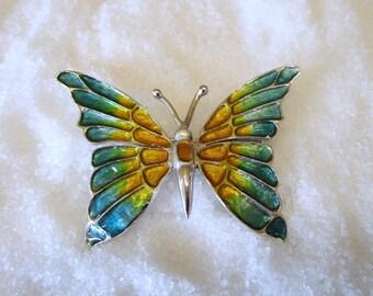 Sterling Silver Enameled Butterfly Brooch