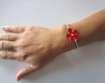 Silver bracelet; Silver bracelet; Flower bracelet; Silver bracelet with enamelled flower; Flower Bracelet