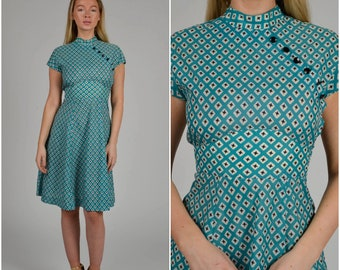 2aa5487d4e ON SALE 1940s Turquoise Print Cheongsam dress