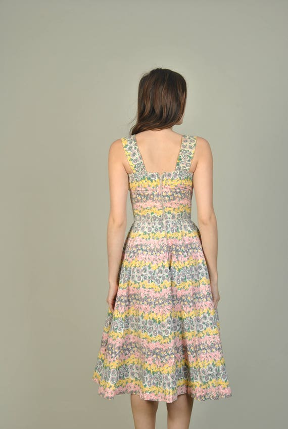 cotton Pastel print vintage extra dress small 1950s Print L' dress Floral 50s Aiglon 1950s dress floral wwHqO7I