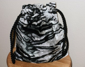 Drawstring Black & White Tiger Stripe Bag; Exotic Animal Print Evening Bag; Handmade Bold Accessories; CIJ