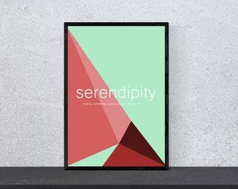serendipity poster - beautiful words - definition - art, print, minimal, modern, wall art, word art, quote, DIN A4, pop art