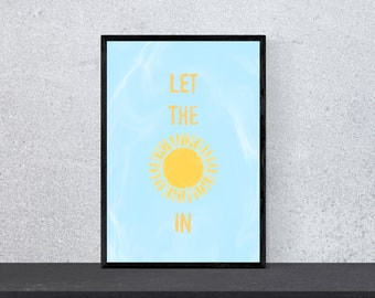 let the sunshine in Poster - Art, Print, Wall Art, Happiness, Funny, Funny, Saying, Motivation, Watercolor, DIN A 4, Sun, Summer