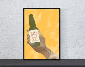 Peace Beer and Sun Poster - Art, Print, Wall Art, Happiness, Funny, Funny, Saying, Motivation, Watercolor, DIN A 4, Bottle
