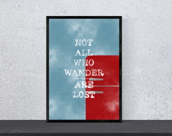 not all who wander to the fridge at night are lost poster - art, print, wall art, funny, funny, saying, motivation, watercolor, DIN A 4