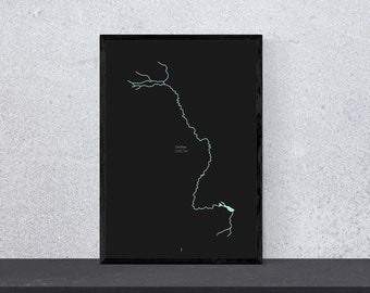Rhine River Poster - Art, Print, Poster, Black & Blue, Minimal, Modern, Wall Art, Home, Travel