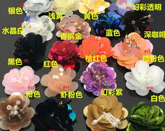 21-55pcs pink orange green gold Rhinestones sequins beads flower foral  clothes dress bag shoes appliques patch brooch M43F116 free ship 8dac7bc5d776