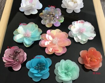 10-36pcs pink orange blue green purple rhinestones sequins beads flower  foral clothes dress bag shoes appliques patch M43F158 free ship 4eab9aef75ce