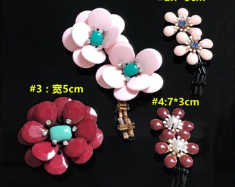 10pcs pink red rhinestones sequins beads flower foral clothes dress bag  shoes appliques patch brooch M43F162 56f007182cd4