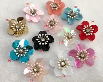 20-24pcs black ivory pink blue red Rhinestones sequins flower foral clothes  dress bag shoes appliques patch M43F87 free ship 9f1d23bcb610