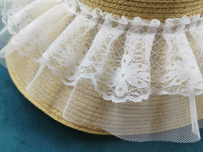 Lace Trim 10 Yards Ivory Pleats Ruffled Collar Cuffs Mesh Fabric Ribbon Clothes Dress Sewing Material 10cm 3.9 Wide S5C183 15#
