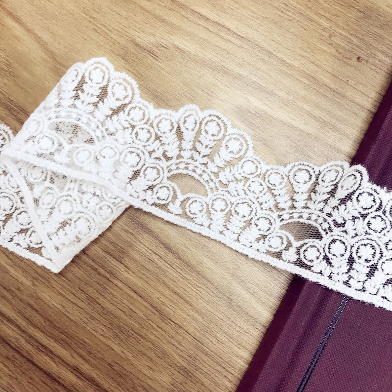 Lace Trim 15 yard Ivory Gauze Tulle Mesh Cotton Embroidery Ribbon Tapes Fabric Sewing Materials 4.8cm 1.88 wide 120304M4F71