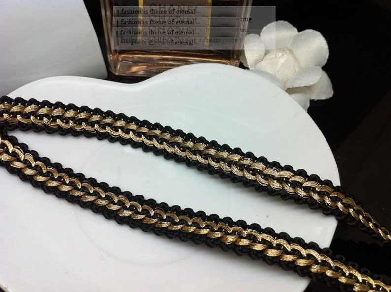 10 yard 1.2cm 0.47 wide black with gold braided tapes lace trim ribbon ML131P81 free ship