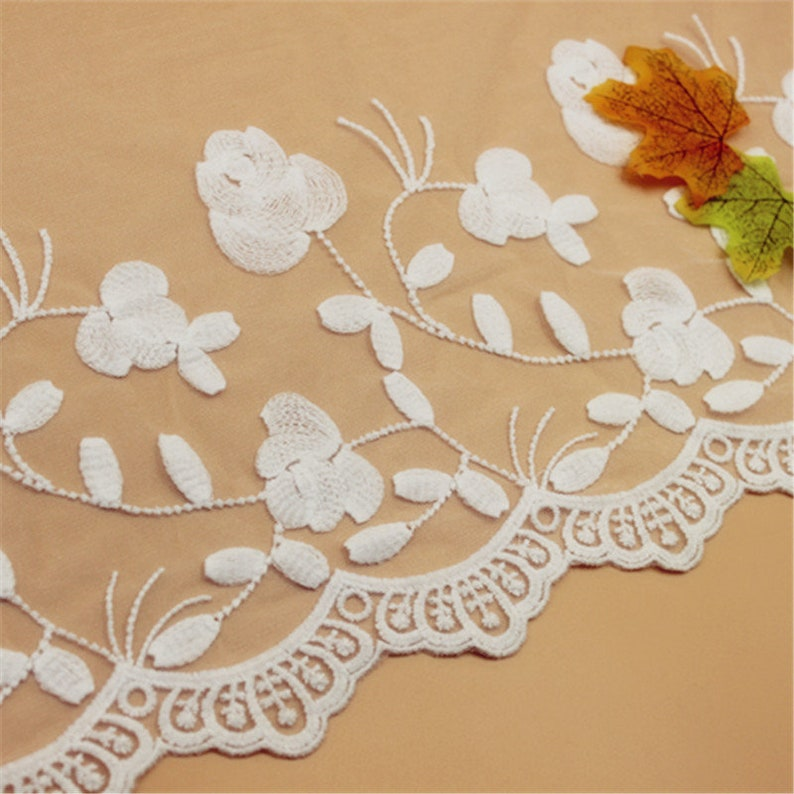 5 yard 34cm 13.38 wide ivory gauze mesh tulle cotton embroidered tapes lace trim ribbon fabric 1069878QL4K597 free ship