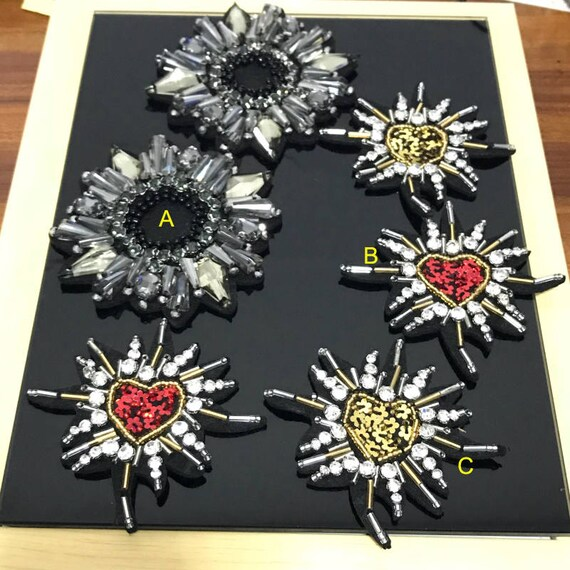 5-8pcs gray red gold Rhinestones sequins beads flower foral  363fc5f4a8ee