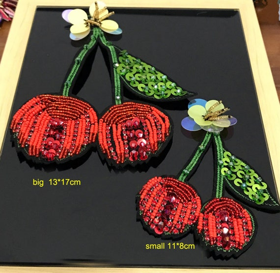 3pcs red Rhinestones sequins beads embroidery cherry  99c2984c26b5