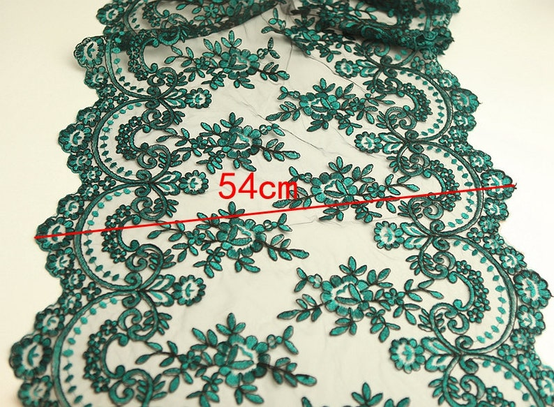 Green Lace Trim 1 Meter Tulle Gauze Mesh Embroidery Ribbon Fabric Bridal Wedding Dress Sewing Material 54cm 21 Wide S19C20