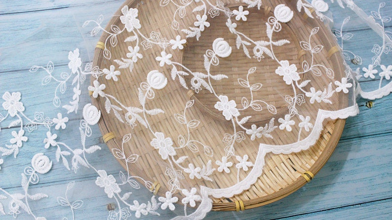 Ivory Lace Trim 5 yard Gauze Tulle Mesh Embroidery Ribbon Tapes Fabric Wedding Dress Clothing Sewing Materials 10.2inch wide M4F84