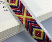 10 yard 2cm 0.78 quot wide red yellow blue square jacquard lace trim ribbon for denim dress clothes ML238
