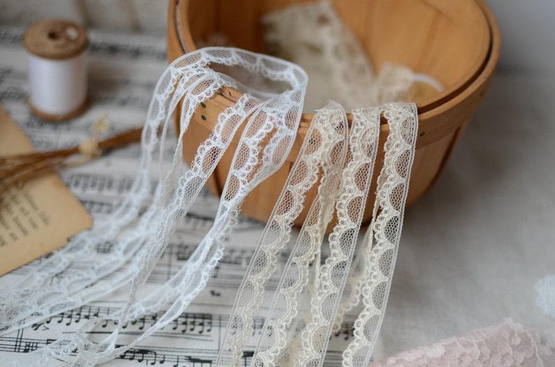 40 meter 0.9cm 0.35 wide whitefleshcolor mesh lace trim ribbon DL16K1180 free ship
