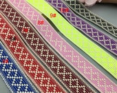 10 yard 3cm 1.18 quot wide blue red pink yellow green orange square jacquard cotton lace trim ribbon for denim clothes ML192