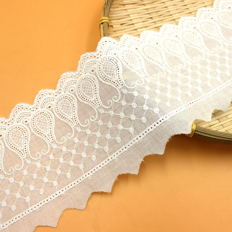 Lace Trim 10 yard Ivory Cotton Embroidery Ribbon Tapes Cloth Fabric Dress Skirt Sewing Materials 11cm 4.33 wide  1115022M4F64