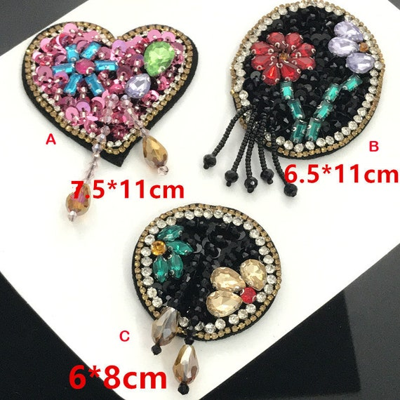 5-6pcs diamond sequins beads circular love appliques patch  f9c55cdd52b8